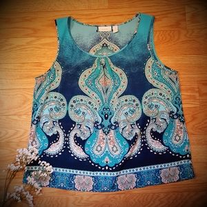 NEW Chico's Paisley Dressy Tank Top Blouse